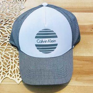 Calvin Klein light grey snap back trucker hat